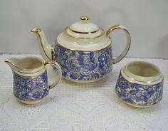 Vintage Sadler China Blue Paisley Tea Pot Sugar Creamer Set England. $44.00, via Etsy.