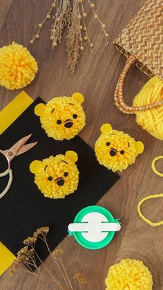 DIY Winnie the Pooh Pom-Poms Craft In celebration of Winnie the Pooh, we bring you a sweet and simple DIY. Keep reading to learn how to craft your own Winnie the Pooh pom-poms. Cute Crafts, Diy And Crafts, Arts And Crafts, Cute Diys, Fun Diy, Crochet Crafts, Yarn Crafts, Diy Crafts Knitting, Paper Crafts