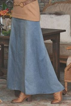 Long light colored denim skirt... Looks perfect for cowgirls! Talls Dakota Denim Skirt Tall from Soft Surroundings