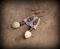 Rustic Earrings Earth-Tone Ethnic Earrings Copper by Triballa
