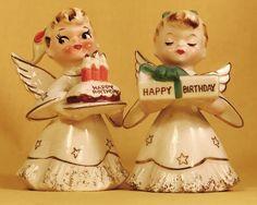 HAPPY BIRTHDAY! Cute Norcrest F-262 Vintage Red Angel Figurine Cake Sale Rare | eBay