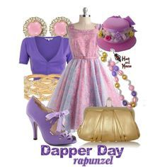 Dapper look inspired by Rapunzel in soft pinks and purples with a touch of gold. Dapper Day Disneyland, Disney Dapper Day, Disney Dresses, Disney Outfits, Disney Clothes, Disney Inspired Fashion, Disney Fashion, Dapper Day Outfits, Disneybound Outfits
