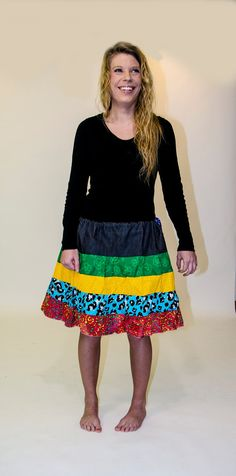 Bright Patchwork Hippie Knee Skirt by Linarain on Etsy.www.etsy.com/listing/183986256