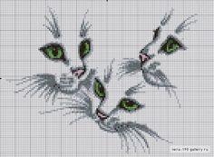 Схемы кошек вышивки крестом монохром