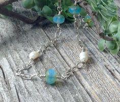 Layering Necklace, Czech Bead Necklace, Aqua Blue Necklace