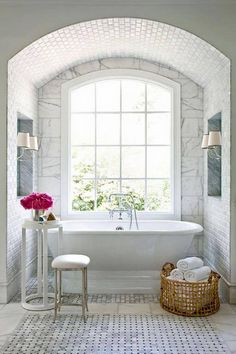 Very similar to the tub we'll have in the new house' master bathroom. Love the floor tiles too.