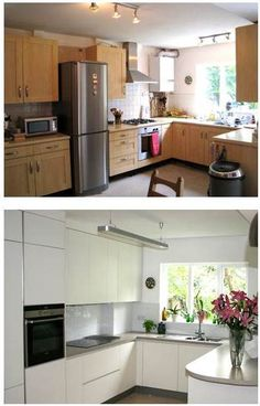 We love the before and after pictures of a Funktional Kitchens' project, simple pale coloured cupboards with a mouse grey stone worktop, it looks fresh and modern, the space created is always amazing and this one is no exception!