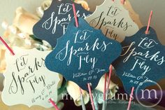 Sparkler Tags  Let Love Sparkle  Wedding Favor Tags by marrygrams, $95.00