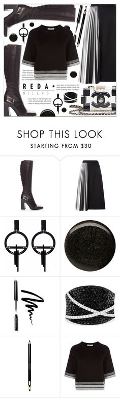 """""""REDA MILANO BOOTS"""" by celine-diaz-1 ❤ liked on Polyvore featuring Proenza Schouler, Toolally, Balmain, Bobbi Brown Cosmetics, Effy Jewelry, Clarins and Maje"""