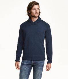 XL   Knit sweater in cotton fabric with a shawl collar and long raglan sleeves. Rib-knit cuffs and hem.