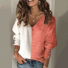 Women's Fashion Color Matching V-Neck Sweater – Ininruby Casual Sweaters, Cool Sweaters, Cardigan Sweaters For Women, Shirt Bluse, Sweater Shop, Fashion Colours, Sweater Fashion, Pulls, Types Of Sleeves