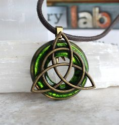 green triquetra necklace mens necklace mens par NatureWithYou