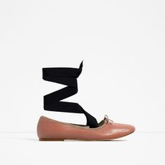 Image 2 of LACE-UP LEATHER BALLET FLATS from Zara