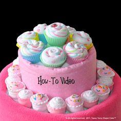 Washcloth Cupcakes, Mini and Full Size - Video. $3.99, via Etsy.