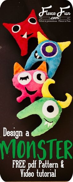 Free monster softie toy pattern! And there's a video tutorial too! Cuddle Design-a-Monster Softy Toy by @fleecefun - make this adorable DIY plush monster toy by sewing with Cuddle Cakes Very Vibrant Dimple http://www.shannonfabrics.com/kits-precuts/precuts/cuddle-cakes-br-very-vibrant-dimple