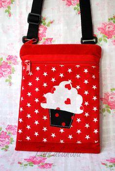 Red Cupcake Messenger Bag Cupcake Shoulder Bag by TaikaLand Pocket Craft, Red Cupcakes, Red Bags, Small Crossbody Bag, Printed Bags, Red Cross, Star Print, Handmade Bags, Small Bags