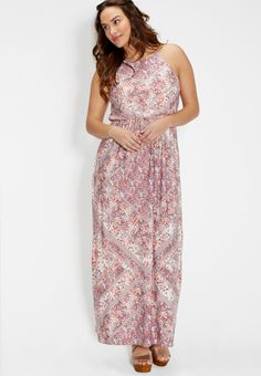 plus size maxi dress in floral print (original price, $49.00) available at #Maurices