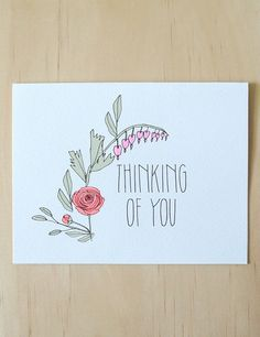 Thinking of You Card by HartlandBrooklyn on Etsy, $4.50