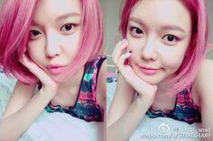 SNSD - Choi SooYoung 최수영 pink hair weibo selca #수영 #셩이 #핑크머리 #단발머리