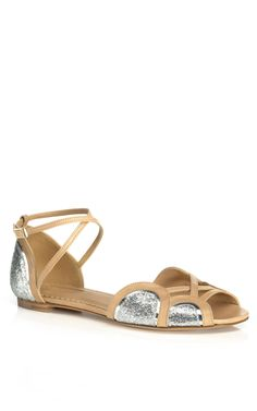 #Aquazzaura #silver and nude leather #sandals #modaoperandi