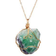 Rainbow Stone Natural Crystal Chakra Rock Necklace