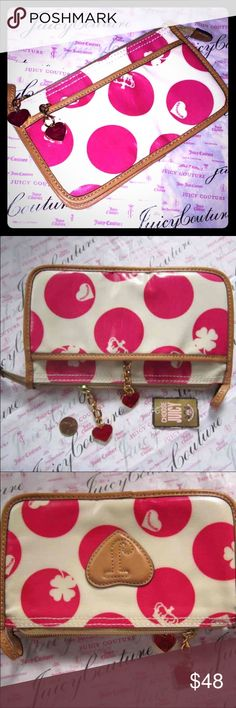 """🍒JUICY COUTURE, FUSHIA ESSENTIALS, MAKE-UP BAG🍒 ❤️🍒Juicy Couture Clutch. Coated Cotton. Fuchsia polka dots on Creme color background. Dark Tan leather trims. 2 interior leather slip pockets. Leather J heart patch on back. 2 chunky Heart """"Love G&P"""" zipper pull charms. Has a little finger loop to grab. Have some fun & stash your girly essentials. Dress up or down. SIZE: 8"""" X 5"""" X 2"""" ❤️🍒❤️🍒❤️ Rare & Cute Juicy!   $88 retail. New w Juicy tag (tag is a little beat up).❤️🍒 Juicy Couture Bags…"""