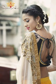 Open back #Choli Blouse, Bali #Earrings <3ly Bombay Eclectic Collection Editorial Photoshoot by SapanaAmin.com