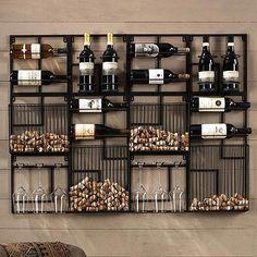 Modular Cork Catcher System – Home bar designs Canto Bar, Wine Rack Design, Wine Rack Wall, Wine Wall Decor, Wine Decor For Kitchen, Wall Mounted Wine Racks, Wine Bottle Holder Wall, Cool Wine Racks, Wine Rack Shelf