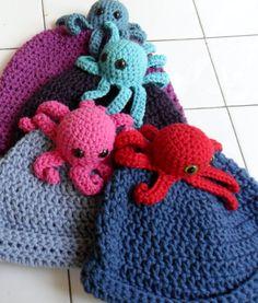 Thursday Handmade Love Week 68 Theme: Octopus Includes links to #free #crochet patterns Crochet Pattern- Little Octopus Hat- PDF file via Etsy