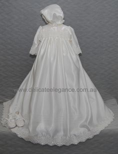 4230B (White Lace): Satin Christening Gown