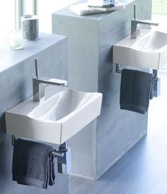 Lavabo Rhin con toallero. Ref 4902. Medidas 425x300x110 mm. También disponible con toallero y dosificador, Ref 4908/D