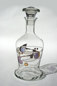Unique, one of a kind, Hand Painted Abstract Miro Inspired Liquor Decanter in Crystal Clear NAGEL West Germany Exclusiv Design in Gold Iridescent Purple Blue Green