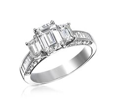3-Stone Emerald Cut Engagement Ring with Baguette