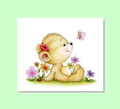 Teddy Bear Nursery Art, Teddy Bear Garden, Animal Nursery Print, Children Art Print, Kids Wall Art, Baby Boy Room Décor, Girl Nursery Decor