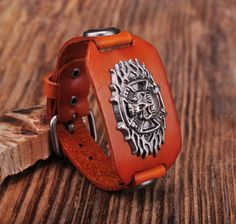 """- Material: Genuine Leather - Length: adjustable from 7"""" - 8.5"""" - Band Width: 1.18"""" - Metal: Copper Alloy - Clasp Type: Easy-Hook"""