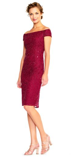 Adrianna Papell | Off The Shoulder Sequin Sheath Cocktail Dress