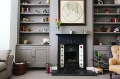 Shelving - An Edwardian Semi Decorated In Farrow & Ball Mole's Breath And Crown Aged White Living Room Shelves, Home Living Room, Living Room Decor, Contemporary Interior Design, Interior Design Living Room, Living Room Designs, Edwardian Haus, Victorian Living Room, Victorian Hallway