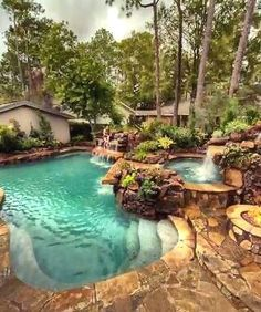 Swimming Pool Landscaping, Natural Swimming Pools, Swimming Pool Designs, Outdoor Swimming Pool, Landscaping Ideas, Mulch Landscaping, Swimming Tips, Pool Spa, Backyard Pool Designs