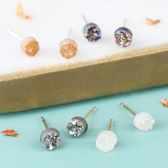 408deea37b7 Looking for Sparkling Stone Jewellery? Try these hypoallergenic Druzy Stud  Earrings in iridescent purple.