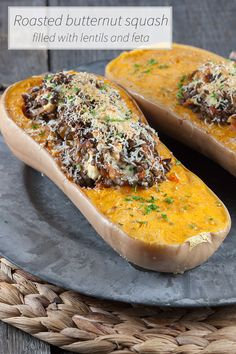 Amazing vegetarian main dish for a lovely evening meal. Butternut squash filled with lentils and feta is quite filling and full of flavors.