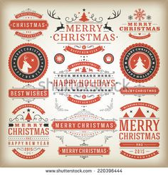 Christmas decoration vector design elements. Merry Christmas and happy holidays wishes.Typographic elements, vintage labels, frames, ornaments and ribbons, set. Flourishes calligraphic.