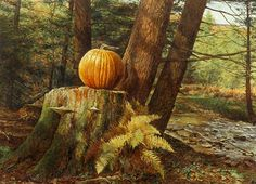 Pumpkin Pines is a limited edition offset lithograph of a watercolor by David Armstrong. Image size is 20 x 26 Printed on acid free cotton rag paper. David Armstrong, Autumn Scenery, Fall Pictures, Realism Art, Autumn Art, Painted Pumpkins, Art World, Cross Stitch, Fine Art