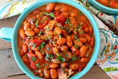 Easy Charro Beans with Canned Beans ~ Authentic Mexican charro beans, made quick and easy using canned beans and tomatoes, bacon, and fresh produce