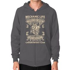 Mechanic life Zip Hoodie (on man)