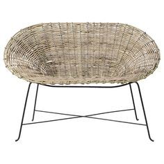 Rattan Kubu Sofa w/ Black Metal Frame - Tuvalu Coastal Home Furnishings