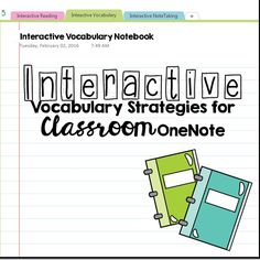 Interactive Vocabulary for Classroom OneNote!