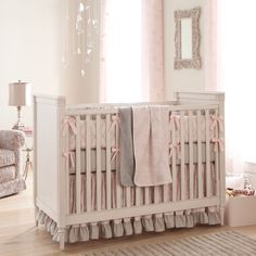 Paris Script Crib Bedding | Pink and Gray Baby Girl Crib Bedding Featuring French Damask | Carousel Designs