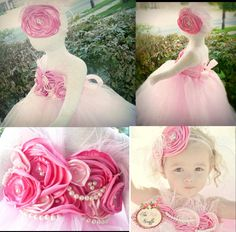 Baby tutu dress, girls tutu dress. The Elaborate Shabby Chic Pink tutu dress with Glamorous Headpiece. $95.00, via Etsy.