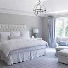Gray and Blue Master Bedroom with Blue French Pleat Curtains