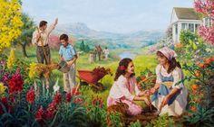 Servos leais de Deus vivendo felizes no Paraíso na Terra